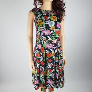 Jones New York Navy Red Floral Fit Flare Dress XS